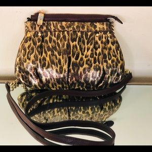 B. Makowsky Metallic Leopard Crossbody Bag Zip Top